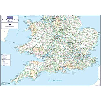 South Of England Map.Travel Map 4 Southern England Wales Colour Matt Paper With Face Lamination Write On Wipe Off