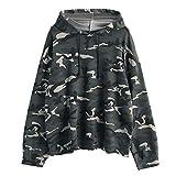OverDose Damen Herbst Sport Stil Frauen Langarm Camouflage Patchwork O Neck Sweatshirt Beiläufige Bluse Im Freien Laufender Pullover