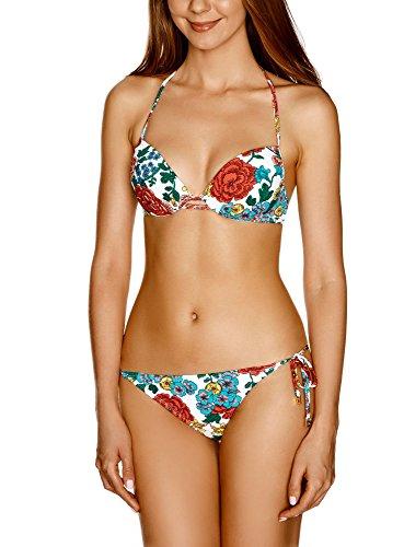 oodji Ultra Damen Bikinioberteil mit Floralem Druck Weiß (1019F)
