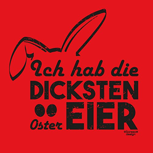 Männer-Oberteil zu Ostern Tshirt mit Hasenmotiv Ideal als Geschenke Idee mit Print: Ich hab die dicksten Ostereier Farbe: rot Rot