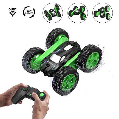 EACHINE EC02 RC Car 4WD Ferngesteuertes Auto Offroad,doppelseitige RC-Auto, 360-Grad-Spin und Flip,High Speed Spielzeugauto Mit 2.4GHz Fernbedienung, Geschenk für Kinder (Grün)
