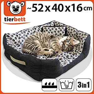 Pet Bed S 52x45x16 cm Footprint Stain Dog Bed+Cat Bed 100% Cotton by eyepower