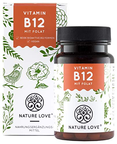 NATURE LOVE® Vitamin B12 - Vergleichssieger 2019* - 1000µg, 180 Tabletten. Beide aktive Formen Adenosyl- & Methylcobalamin + Depot + Folat 5-MTHF. Vegan, hochdosiert, made in Germany