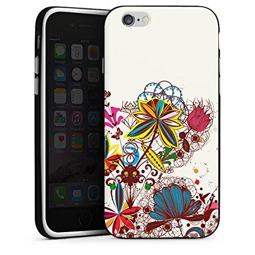 Apple iPhone X Silikon Hülle Case Schutzhülle Blumen bunt blume Silikon Case schwarz / weiß
