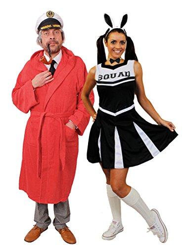 Bunny Hefner Hugh Kostüm - ILOVEFANCYDRESS Playboy KOSTÜM FÜR Paare ODER NUR DER Playboy=Cheerleader MIT Hasen Ohren=EINE VERKLEIDUNG IN DER SIE AUFFALLEN=Paare-Mann-MEDIUM+SCHWARZES Cheerleader+ROSA Ohren-SMALL