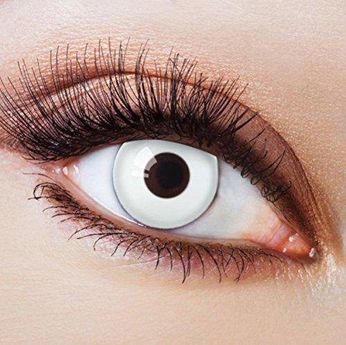 Farbige Kontaktlinsen Ohne Stärke mit Motiv Weiße Linsen Weiße Jahreslinsen für Halloween Party Fasching Cosplay Kostüm White Zombie Vampir Weiß