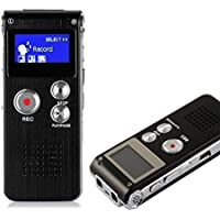 HccToo 8GB Multifunctional Digital Voice Recorder Rechargeable Dictaphone Stereo Voice Recorder with MP3 Player Perfect for Recording Interviews, Conversation and Meetings (Black)
