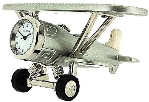 MINIATURE Schreibtischuhr in Form eines silberfarbenen Doppeldecker-Flugzeuges für Sammler 9132