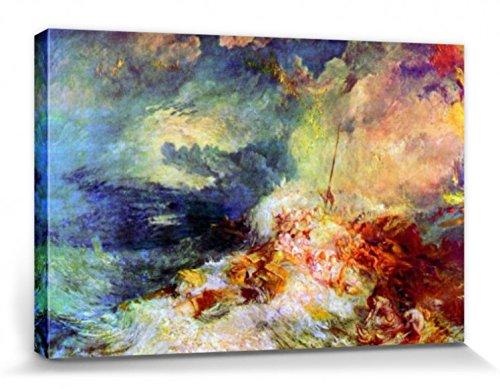 1art1 57395 Joseph William Turner - Feuer Auf Dem Meer, 1834 Poster Leinwandbild Auf Keilrahmen 120 x 80 cm