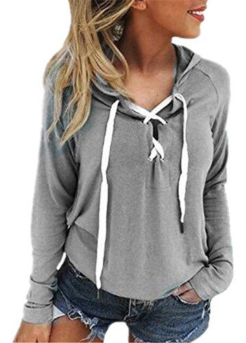 AILIENT Donna Scollo V Allacciatura Manica Lunga Camicetta Maglioni T-Shirt Allentato Sweatshirt Sportive Top Casual Maglie Grey