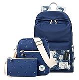 Greeniris Damen Segeltuch Reise Vintage Rucksack/Schulranzen/Brieftasche für Mädchen 3pcs