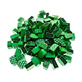 140 x Lego System Rundstein Kopf grün 2x4x2 bedruckt mit Gesicht/Oberkörper/Punkte/Streifen weiss Figur Motiv Stein halbrund Bogen Motivstein 4744
