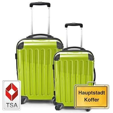 HAUPTSTADTKOFFER Jeu de 2 vert pomme (87Liter/130Liter) étui rigide dans une combinaison de couleurs à haute brillance, TSA serrure à combinaison