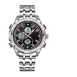 ZEIGER Herren Uhr Digital Analog Quarz Licht Datum Armbanduhr Silber Edelstahl mit rotem Zeiger W398