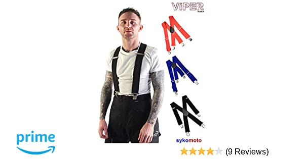 Black HEAVY DUTY STRONG MENS BRACES ELASTICATED CROC CLIPS STRETCH BIKER GENERAL USE ONE SIZE