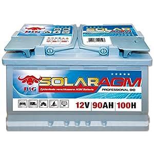 BIG Solar DC AGM 12 V / 90 Ah (100h) Antrieb Beleuchtung Batterie Versorgungsbatterie