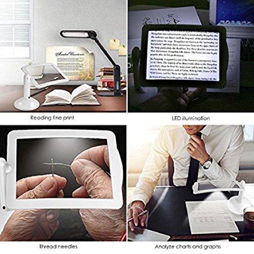 Lupe für Lesen, Senior, Low Vision, Bücher, Karte, Inspektion, Handwerk Hobby, mamum New LED Lupe Lupe, mit Licht in weiß Hobby-lupe Mit Licht