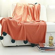 battar di bediing luce confortevole morbida estate aria condizionata Quilt handgemachte estiva coperta a maglia, lavabile 1pezzi, Carino mehrfarbige gomitolo di lana lavorato a maglia decke130X 160cm, Misto cotone, Grau+orange, 130 x 160 cm