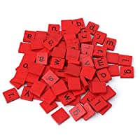 JIACUO 100Pcs Colourful Wooden Scrabble Tiles Mix Letters Varnished Alphabet Scrabbles
