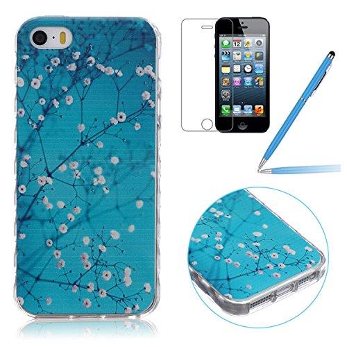 iPhone SE Hülle,iPhone 5 TPU Case, iPhone 5S Silikon Cover - Felfy Ultra Slim Klare Transparent Gel Klar Crystal Durchsichtig Flexible Elastisch Biegsam aussehend Eule Muster Schutzhülle für Apple iPh Blauer Blume