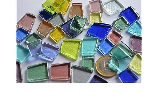 100g Glas Mosaiksteine unregelm transparent Grünmix ca 40 St.