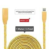 Lightning Kabel - 1m, Gold, Neustes Design - Sehr schnelles iPhone 7 Ladekabel - verstärktes USB Datenkabel mit Knickschutz - Für Apple iPhone 7 6 5, iPad, iPod - SWISS-QA Geldrückgabe Garantie - 2