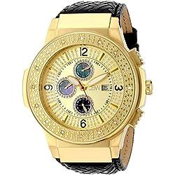 "Just Bling Herren JB-6101L-D ""Saxon Gold"" geflochtenem Leder Diamond Watch"