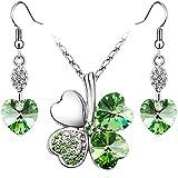 Le Premium® - Set Ciondolo a forma di quadrifoglio, e pendenti abbinati a forma di cuore, placcati in oro bianco