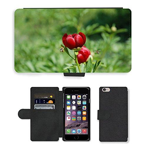 Just Mobile pour Hot Style Téléphone portable étui portefeuille en cuir PU avec fente pour carte//m00138118Pivoine Fleur Bee naturepeony Nature//Apple iPhone 6Plus 14cm