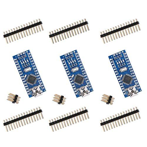 Elegoo Nano V3.0 Scheda di Microcontrollore CH340 ATmega328P per Arduino Board (Kit di 3)