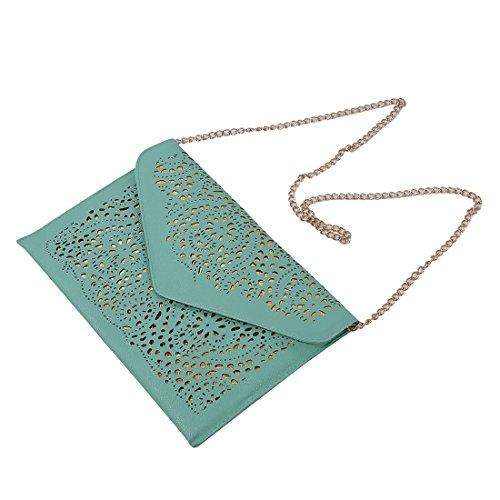 TOOGOO(R) donne Trend della borsa del ritaglio della spalla della busta nazionali Vintage frizione giorno sacchetto Borsello - blu verde chiaro