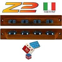 Lux Z2 porta stecche made in Italy a mensola da parete. Realizzato in legno massello, due pezzi, colorazione mogano, per 4 stecche.