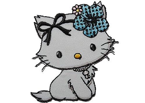 alles-meine.de GmbH Charmmy Kitty mit Blume 6 cm * 6,3 cm Bügelbild - Aufnäher Applikation Katze Kätzchen blau Tier