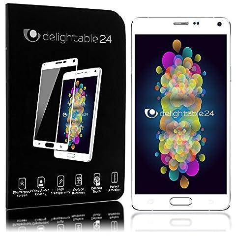 Samsung Galaxy Note 4 Panzerglas Schutzfolie von NICA, 2.5D Round Edge Full-Cover Displayschutz-Folie / 9H Panzerfolie Schutz-Glas / Volle Handy Display-Abdeckung Panzer-Glasfolie - Kristall Klar Weiß