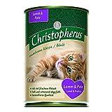 Christopherus Alleinfutter für Katzen, Nassfutter, Erwachsene Katze, Lamm und Pute, 6 x 400 g Dose