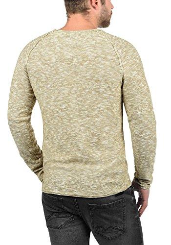 BLEND Bagger Herren Strickpullover Feinstrick Pulli mit Rundhals-Ausschnitt aus 100% Baumwolle Meliert Sand Brown (75107)
