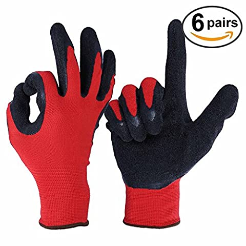 OZERO Garden Gloves, Nitrile Coated Safety Glove with Stretchy Nylon Shell for Yard/Farm/Household/Warehouse/Repairment - Ultimate Grip & Light Weight for Men and Women - 6 Pairs Pack (Extra Large)