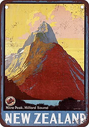 Shimeier Mitre Peak Neuseeland Vintage Look Reproduktion Metall Blechschild 20,3 x 30,5 cm lustige dekorative Blechschilder Wanddekoration