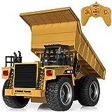 SGILE 6 Kanal Ferngesteuert Kipper Muldenkipper Spielzeug mit 360° Rotation und Blinkern, 2,4Ghz RC Baufahrzeug mit Licht und Sound für Outdoor Indoor, Wiederaufladbar BAU Traktor für Kinder Geschenk