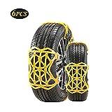 WJTRK1 Auto Schneeketten, Universal 6 Stück Anti-Rutsch Ketten Einfach zu montierende Fit für Auto/SUV Reifenbreite mit 165mm-285mmm