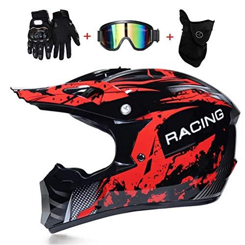 Kuccy Adult Motorradhelm Herren, Off Road Motocross Helmet Brille Handschuhe Maske TZ-242 Enduro Helm Motorcrosshelm Schutzhelm Schutz Sicherheit Motorrad-Helm Motorradhelme (S, M, L, XL),M