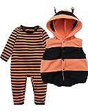 Kidsform Baby Unisex Bodysuit Overalls Jumpsuit Playsuits Kleidung Set mit Weste Orange 3-6M