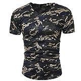 Btruely Herren Camouflage T-Shirt Männer Slim Tops Army Style Tarnhemd für Herren Kurzarm T-Shirts Patchwork Bluse Mode Basic Tee V-Ausschnitt Kurzarmshirts (XL, Armeegrün)