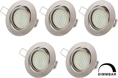 LED-Einbauleuchte EEK A+ (4W, 230V, dimmbar, ultra flach, rund, warmweiß) 5er Pack