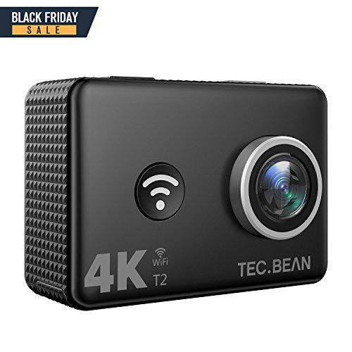TEC.BEAN 4K Action Cam 2 Zoll Bildschirm WLAN 14 MP Wasserdichte kamera bis zu 45M UnterwasserKamera mit 170 Grad Weitwinkelobjektiv und 2,4G Fernbedienung, aufladbarem Akku und vielen Accessoires