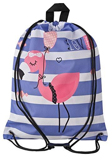 Aminata Kids - Kinder-Turnbeutel für Mädchen und Damen mit Geschenk für Party Papagei Kaktus Blume-n Flamingo Sport-Tasche-n Gym-Bag Sport-Beutel-Tasche pink blau Weisse Rose Streifen... -