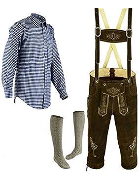 Herren Trachten Lederhose Größe 46-62 Bayerische Trachtenlederhose Trachten Set,Hose,Hemd,Socken Neu