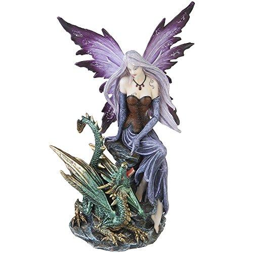 A.G.S. Deko Fantasy Elfen Figur mit Drache Fairy Dragon Dekoration Elfenfigur Fee
