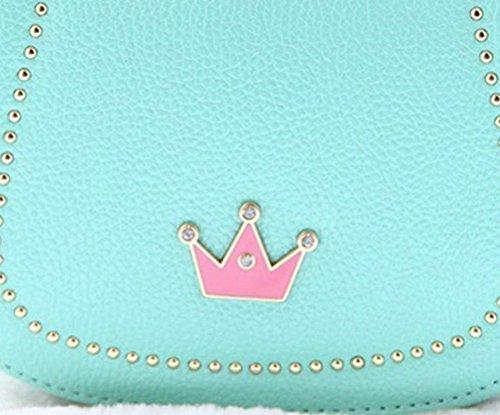 Honeymall Damen Kleines Mädchen Tasche Kinder Umhängetasche Handtasche Taschen KindertascheMode Frauen Schultertasche PU Leder Mit Kaiserkrone Verstellbarer Schultergurt(Schwarz) Grün