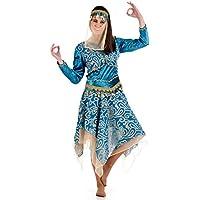 India de harén vestido de señora color turquesa disfraz de bailarina oriental - XL